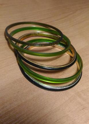 Набор детских браслетов в зелёных тонах,индия,  6штук