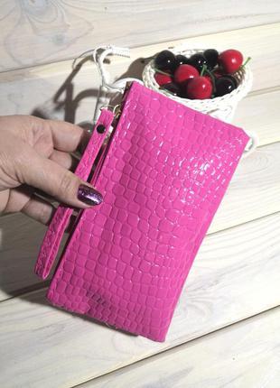 Розовый клатч кошелек косметичка сумка женский лаковый на молн...