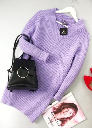 Лавандовое оверсайз вязаное платье-свитер с v-образны вырезом ...