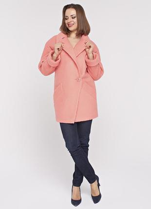 Женское весеннее коралловое короткое пальто - пиджак демисезон...