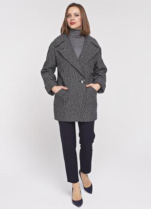 Женское весеннее серое короткое пальто - пиджак демисезон