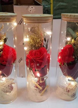 РОЗА В КОЛБЕ с LED подстветкой 25 см – Лучший подарок!