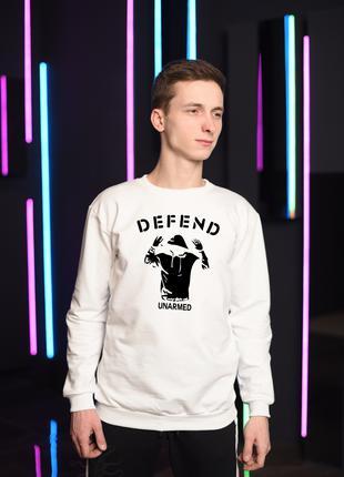 Мужской белый свитшот, толстовка, мужская кофта Defend Paris