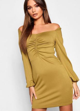 Платье вечернее с длинными рукавами asos boohoo chocolate