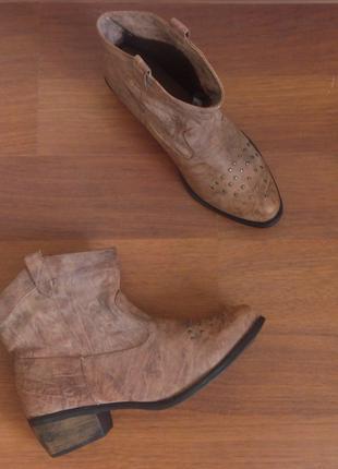 Коричневые ботинки казаки с заклёпками