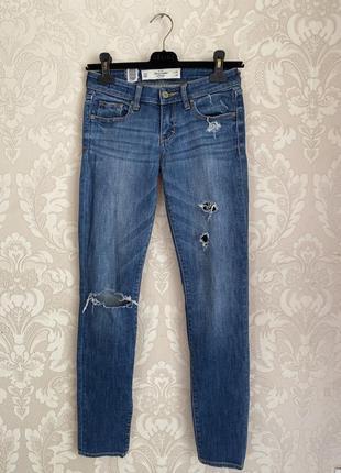 Abercrombie and fitch оригинал синие джинсы скинни размер 24-25