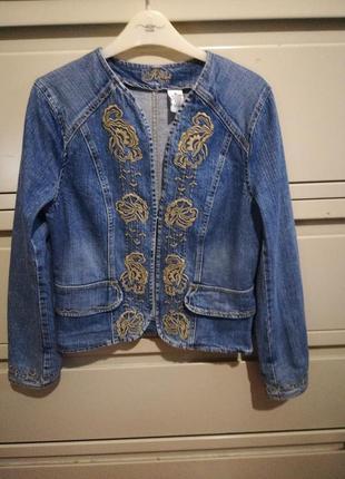Джинсовый пиджак жакет куртка с вышивкой
