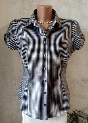 Блуза, рубашка, клетка виши, офис, лето, короткий рукав