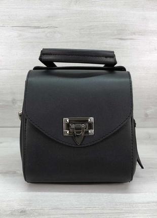 Маленькая сумка-рюкзак молодежная через плечо черная