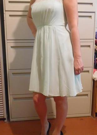 Платье нежно-мятного цвета шёлк
