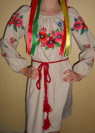 Платье вышиванка на 9-11 лет р.140 ручная работа