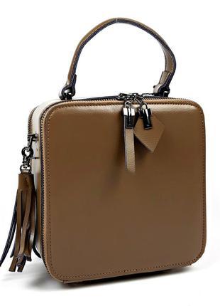 Квадратная женская сумка из натуральной кожи galanty цвета хак...