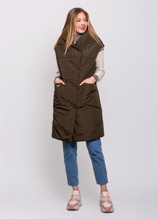 Стильный женский длинный теплый жилет - одеяло