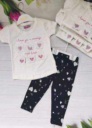 Комплект для девочек футболка и лосины рост от 92-110