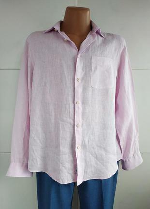 Льняная мужская рубашка marks&spencer розового цвета