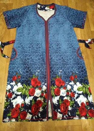 Платье халат домашнее на молнии хлопок