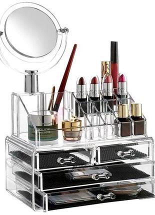 Акриловый органайзер для косметики с зеркалом настольный