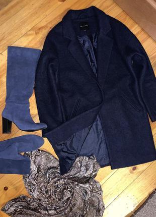 Шерстяное пальто-бойфренд new look темно синее