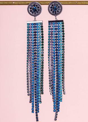 Ювелирные серьги с синими камнями
