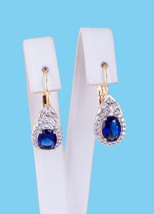 Серьги xuping с синим камнем