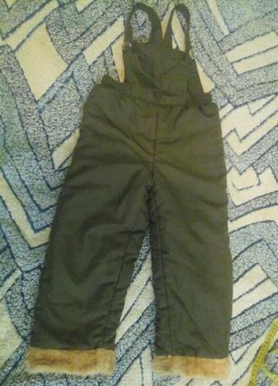 Детские штаны-полукомбинезон, дл.63, на синтепоне