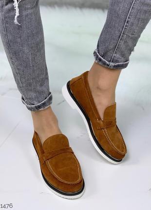 Замшевые туфли на низком каблуке,коричневые лоферы из натураль...