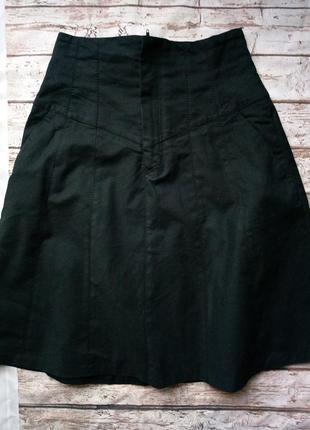 Юбка плотная трапеция с карманами, высокая талия