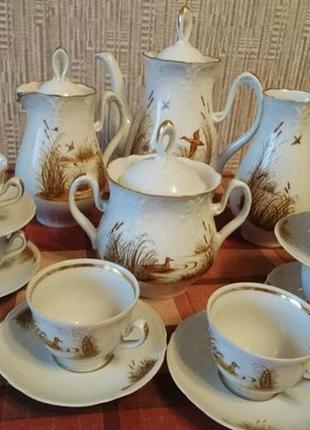 Сервиз чайный кофейный 6 персон позолота ретро винтаж ссср охо...