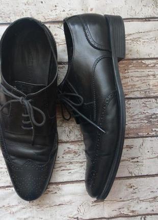 Кожа! стильные туфли броги 10,5 uk