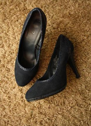 Туфли текстиль под замшу тёмно-синие