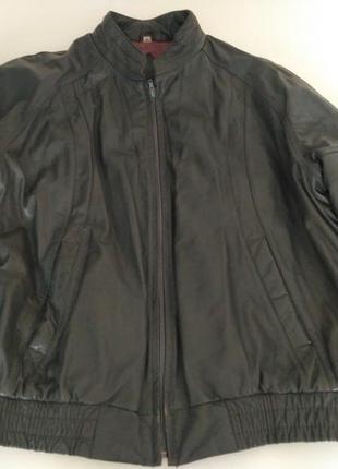 Куртка кожаная серая на молнии
