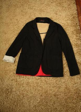 Трикотажный кардиган - пиджак с карманами
