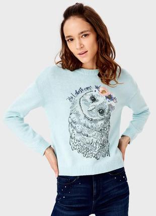 Джемпер с милой совой и вышитыми цветами ostin. свитер ostin (...