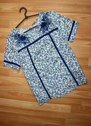 Блуза рубашка в мелкий принт с аппликацией, индия / tu, 12