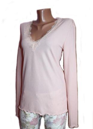 Блуза гольф пудровая в рубчик с кружевом на большой размер / к...