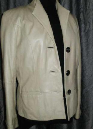 Куртка пиджак натуральная кожа / молочная / wolfleather collec...