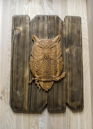 """Декоративное панно """"Сова хранитель"""" из дерева"""