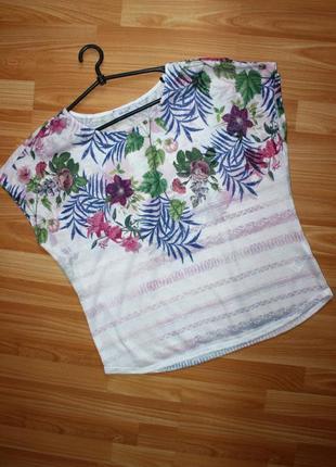 Блуза кофточка трикотажная в красивый принт и полоски / per un...