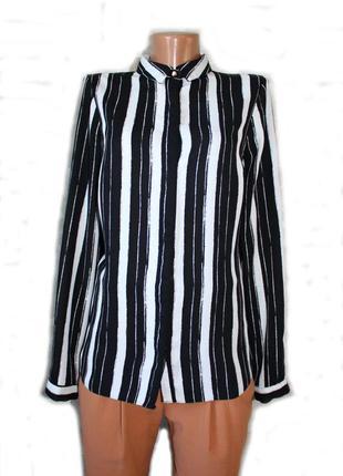 Рубашка по типу бойфренд в крупную вертикальную полоску  / 10
