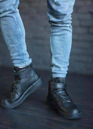 Nike air force high black winter зимние кроссовки найк с мехом