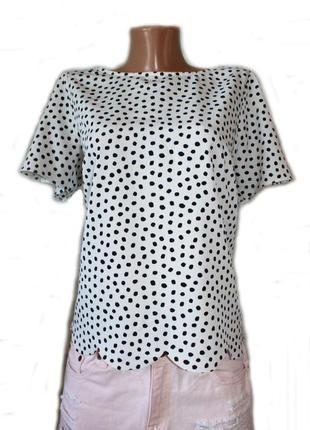 Блуза кофточка можно и как базовая / в интересные черные горош...