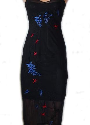 Крутое супер платье сетка с вышивкой в облипку от известного б...