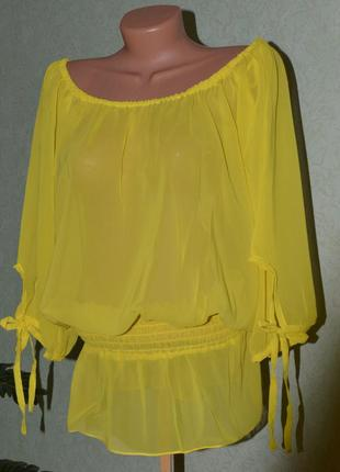 Суперская блуза желтый шифон летучья мышь / melrose