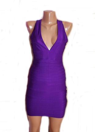 Платье сарафан мини как резинка в облипку фиолет текстурное / ...