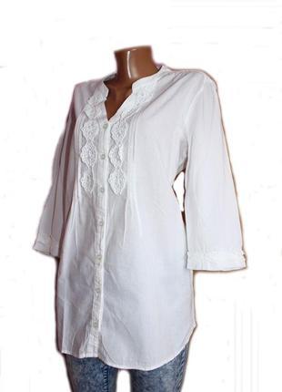 Блуза рубашка / 100% коттон брендовая 3/4 рукав с нашивками ги...