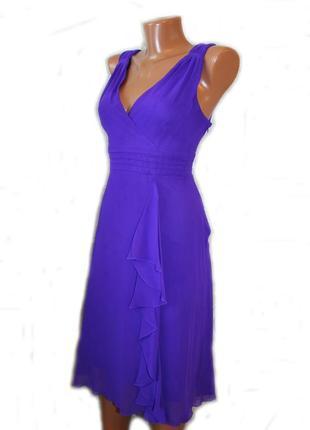 Платье сарафан фиолетовое с вертикальным воланом / шри-ланка, ...