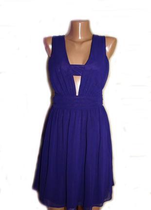 Платье мини фиолет секси / с открытой спинкой и красивым декольте