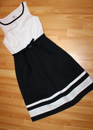 Платье комби: белый топ и черная юбка, 36