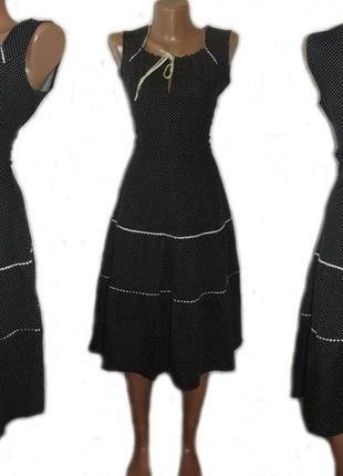 Платье сарафан 100% коттон / натуральное / черное в мелкий бел...