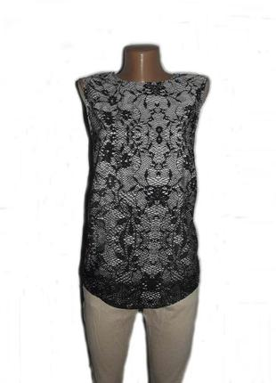 Блуза топ / как базовая / в принт серо-черного гипюра